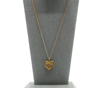 JMF CO Gold Filled Heart Locket, Red Crystal Roses